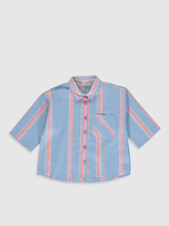 Mavi Kız Çocuk Çizgili Poplin Gömlek 0S9699Z4 LC Waikiki