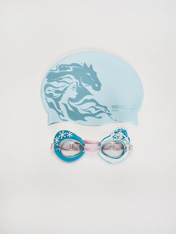 %100 SİLİKON  Kız Çocuk Frozen Deniz Gözlüğü ve Bone Takım
