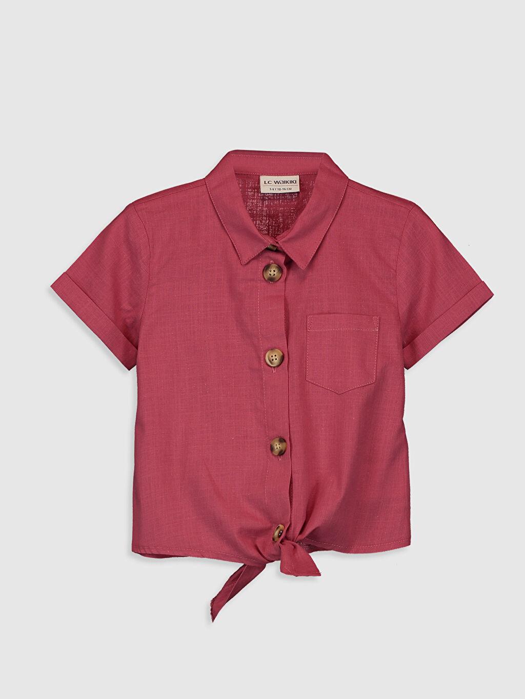 Pembe Kız Çocuk Kısa Kollu Poplin Gömlek 0S9738Z4 LC Waikiki