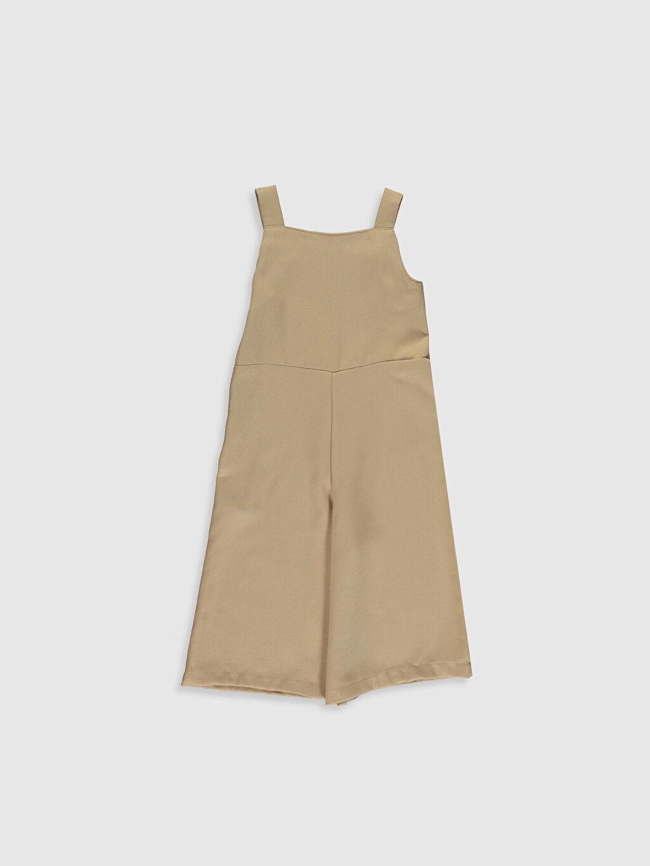 %65 Polyester %35 Viskon Normal Bel Standart Kız Çocuk Düğme Detaylı Tulum