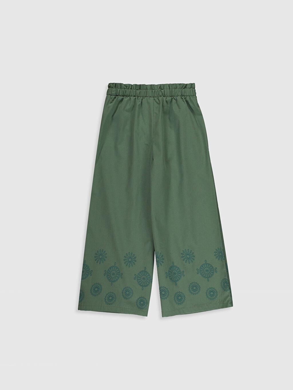%100 Pamuk Normal Bel Standart Kız Çocuk Nakışlı Pamuklu Pantolon