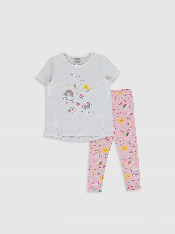Beyaz Kız Çocuk Baskılı Tişört ve Tayt 0S9913Z4 LC Waikiki