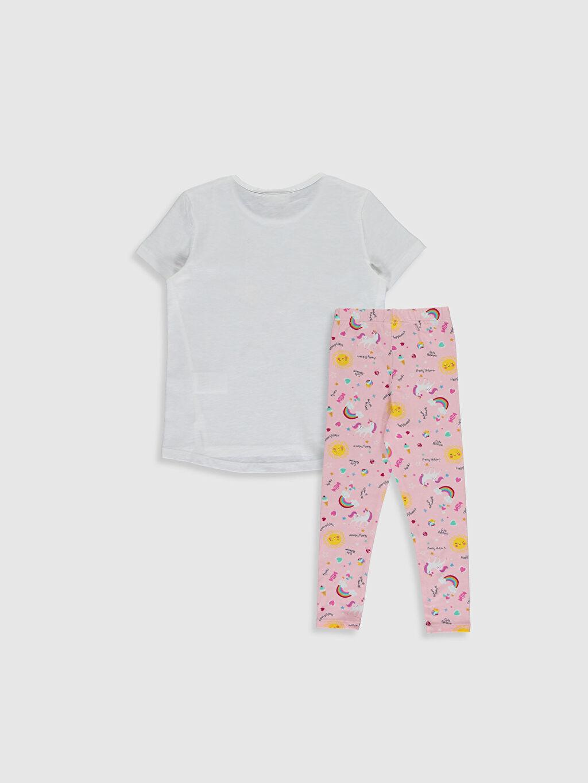 %100 Pamuk %95 Pamuk %5 Elastan  Kız Çocuk Baskılı Tişört ve Tayt