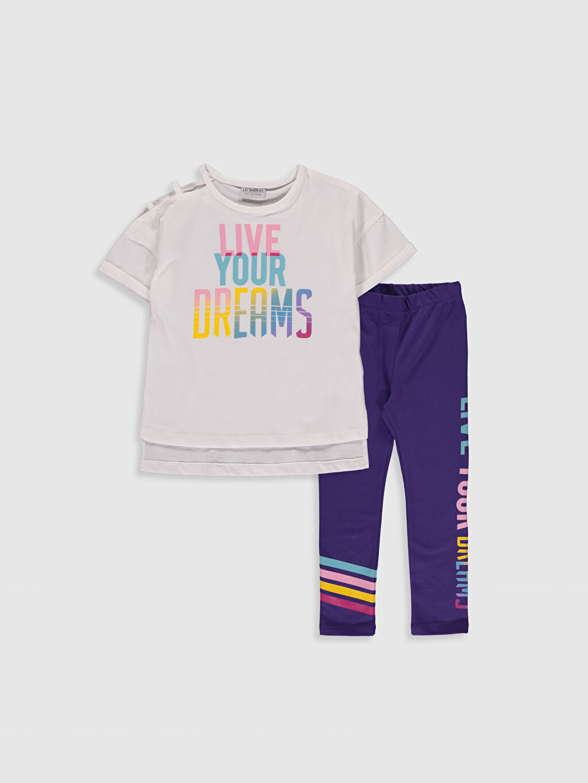 Ekru Kız Çocuk Pamuklu Tişört ve Tayt 0S9914Z4 LC Waikiki