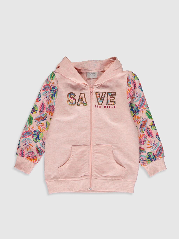 Pembe Kız Çocuk Fermuarlı Kapüşonlu Sweatshirt 0S9922Z4 LC Waikiki
