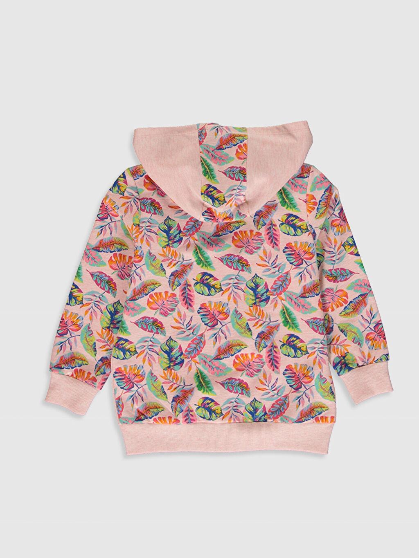 %51 Pamuk %49 Polyester  Kız Çocuk Fermuarlı Kapüşonlu Sweatshirt