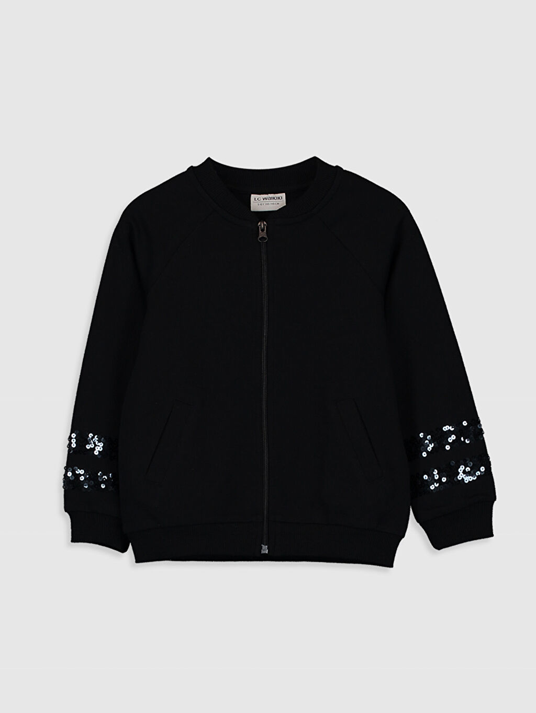 Siyah Kız Çocuk Pul İşlemeli Fermuarlı Sweatshirt 0S9928Z4 LC Waikiki