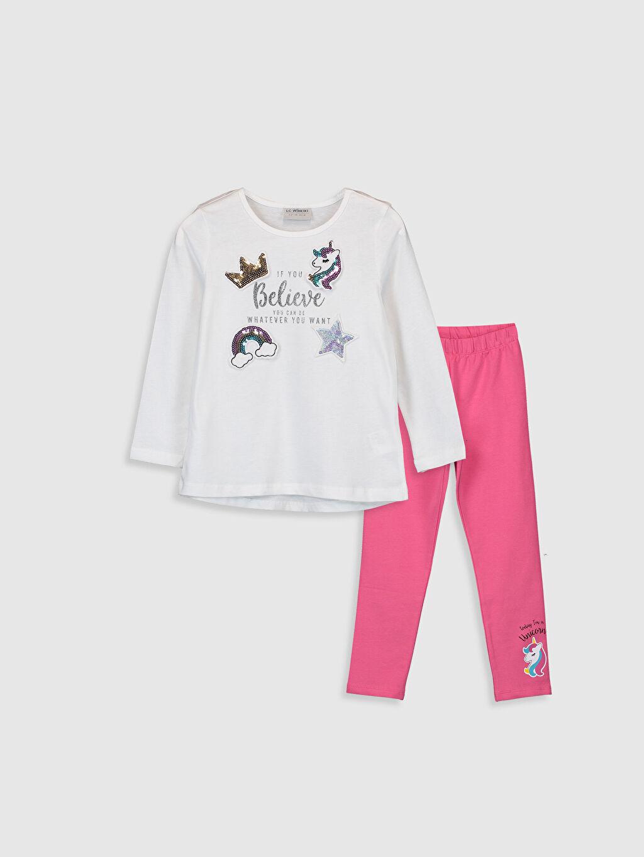 %100 Pamuk  Kız Çocuk Pamuklu Tişört ve Tayt