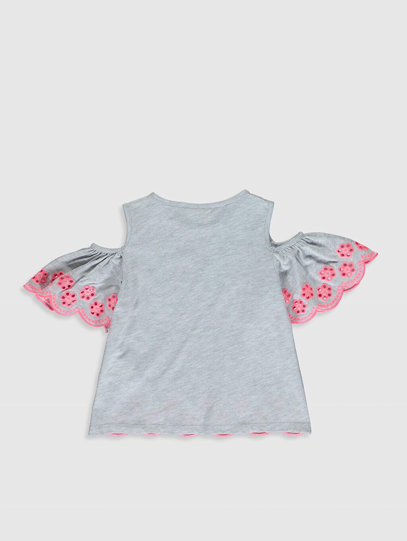 %60 Pamuk %40 Polyester Düz Tişört Bisiklet Yaka Kısa Kol Standart Kız Çocuk Omuzu Açık Pamuklu Tişört