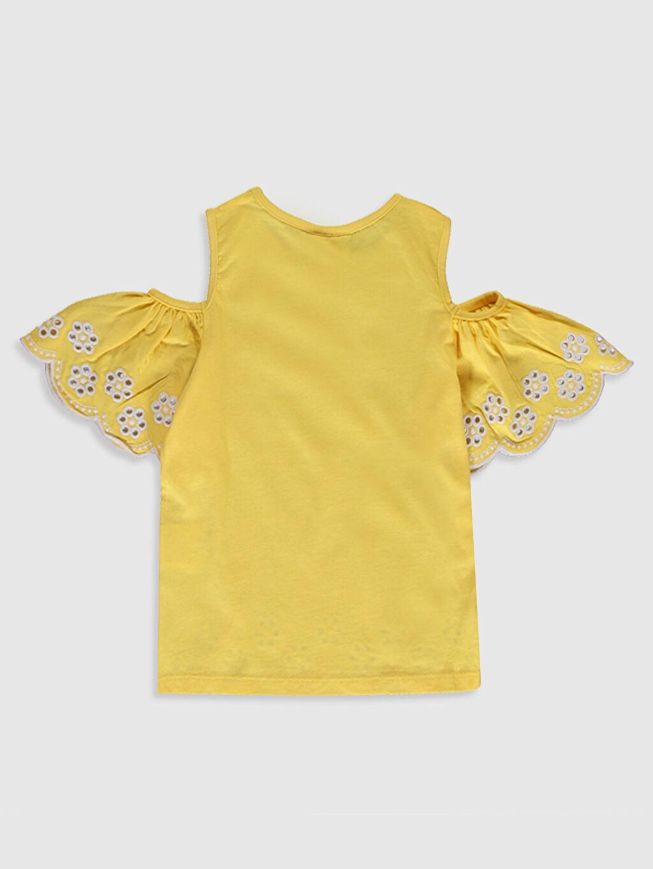 %100 Pamuk Düz Tişört Bisiklet Yaka Kısa Kol Standart Kız Çocuk Omuzu Açık Pamuklu Tişört