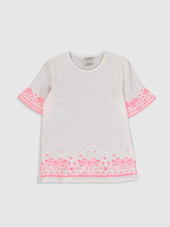 Beyaz Kız Çocuk Baskılı Pamuklu Tişört 0SG023Z4 LC Waikiki