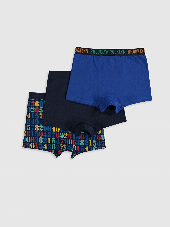 %95 Pamuk %5 Elastan İç Giyim Alt Standart Erkek Çocuk Pamuklu Boxer 3'lü