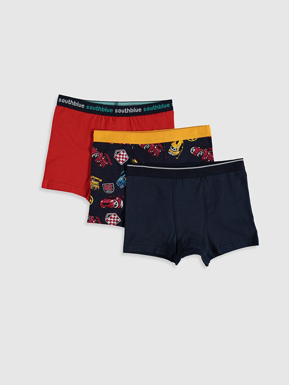 Lacivert Erkek Çocuk Pamuklu Boxer 3'lü 0SG057Z4 LC Waikiki