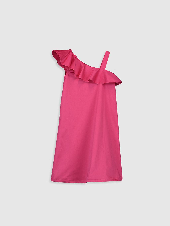 Fuşya Kız Çocuk Fırfır Detaylı Pamuklu Elbise 0SG076Z4 LC Waikiki