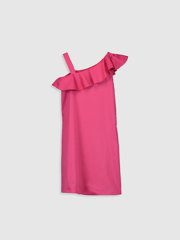 %98 Pamuk %2 Elastan Diz Üstü Düz Kız Çocuk Fırfır Detaylı Pamuklu Elbise