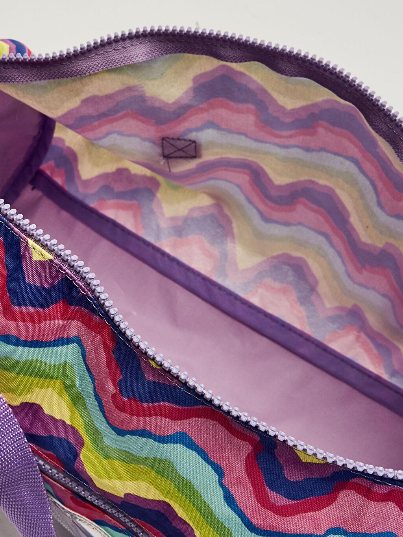 %100 Polyester Kız Çocuk Dalga Desenli Spor Çanta