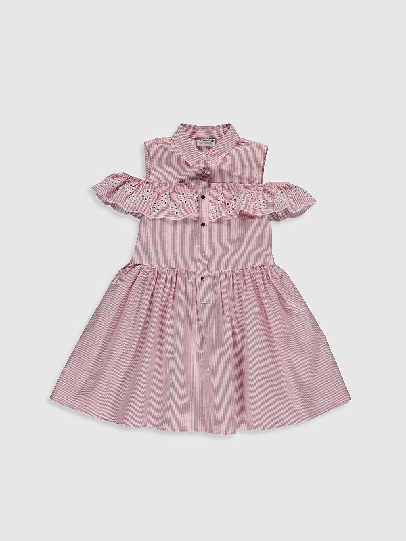 Kırmızı Kız Çocuk Omuzu Açık Poplin Elbise 0SG476Z4 LC Waikiki