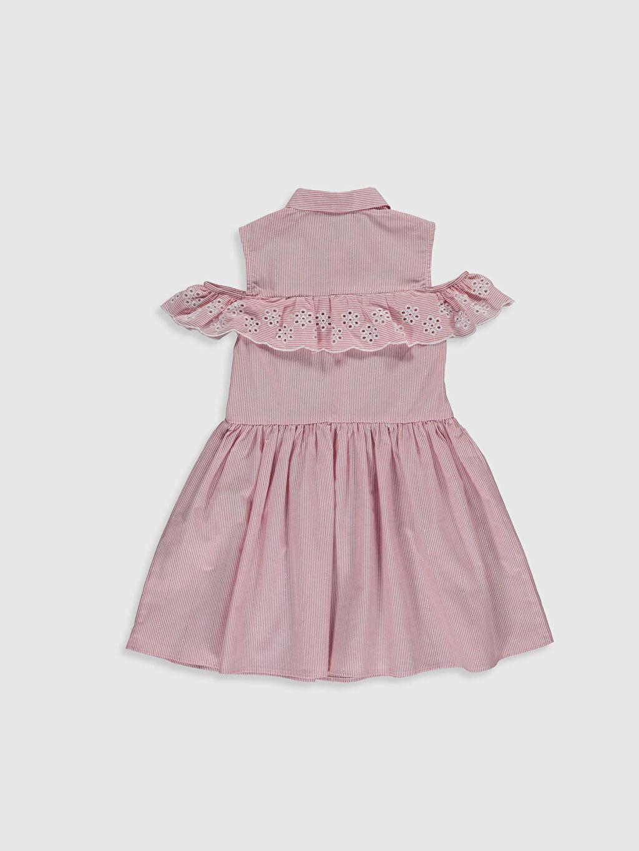 %98 Pamuk %1 Poliamid %1 Metalik iplik Diz Üstü Çizgili Kız Çocuk Omuzu Açık Poplin Elbise