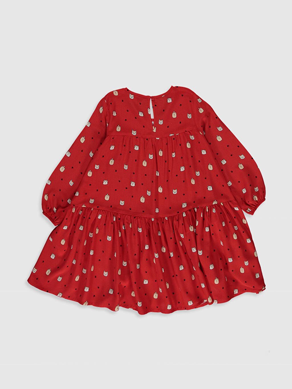 %100 Viskoz Diz Üstü Desenli Kız Çocuk Baskılı Viskon Elbise