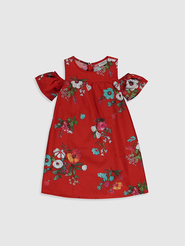 Kırmızı Kız Çocuk Omuzu Açık Pamuklu Elbise 0SG495Z4 LC Waikiki