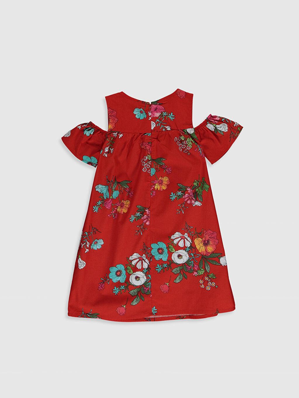 %100 Pamuk Diz Üstü Desenli Kız Çocuk Omuzu Açık Pamuklu Elbise