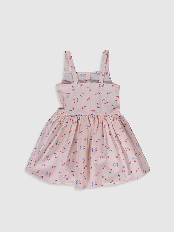 %100 Pamuk Diz Üstü Desenli Kız Çocuk Düğme Detaylı Elbise
