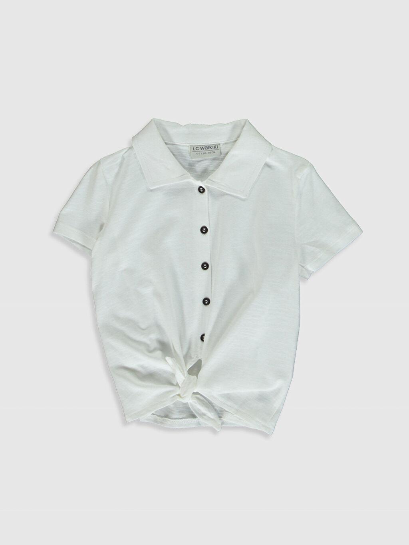 Ekru Kız Çocuk Pamuklu Gömlek 0SG551Z4 LC Waikiki