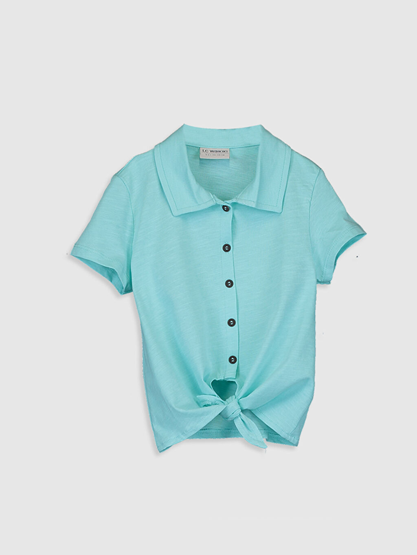 Turkuaz Kız Çocuk Pamuklu Gömlek 0SG551Z4 LC Waikiki