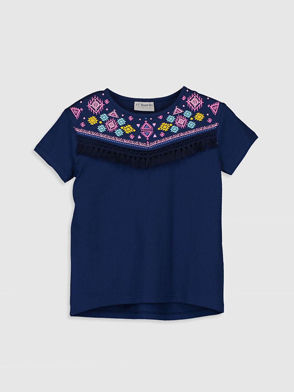 Lacivert Kız Çocuk Baskılı Pamuklu Tişört 0SG552Z4 LC Waikiki
