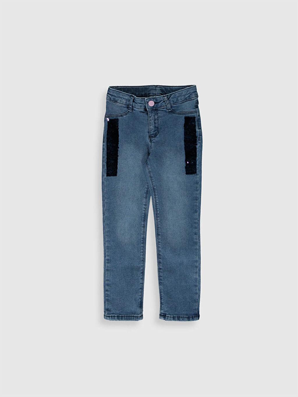 %97 Pamuk %3 Elastan Normal Bel Standart Kız Çocuk Çift Yönlü Payetli Jean Pantolon