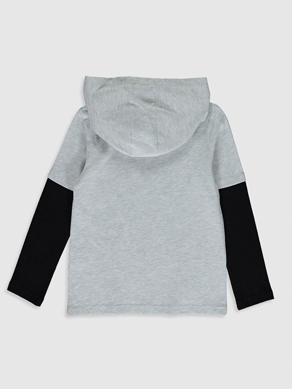 %51 Pamuk %49 Polyester Baskılı Normal Tişört Kapüşonlu Uzun Kol Erkek Çocuk Baskılı Kapüşonlu Tişört
