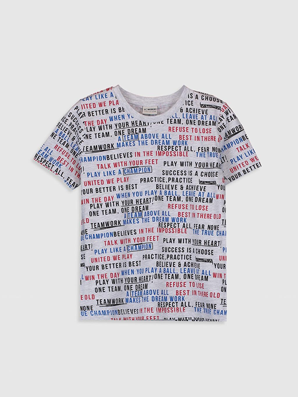 Gri Erkek Çocuk Baskılı Kısa Kollu Tişört 0SG888Z4 LC Waikiki