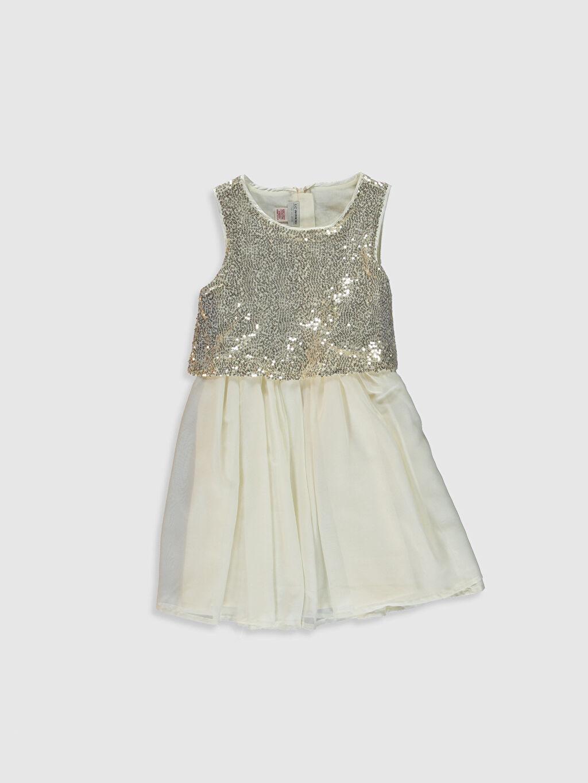 Ekru Kız Çocuk Pul Payet İşlemeli Elbise 0SG910Z4 LC Waikiki