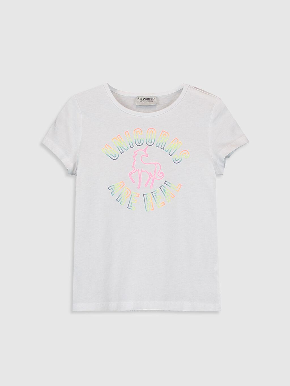 Beyaz Kız Çocuk Baskılı Pamuklu Tişört 0SH320Z4 LC Waikiki