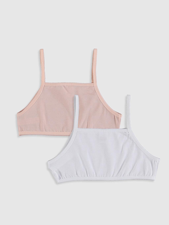 %95 Pamuk %5 Elastan Standart İç Giyim Üst Kız Çocuk Pamuklu Büstiyer 2'li