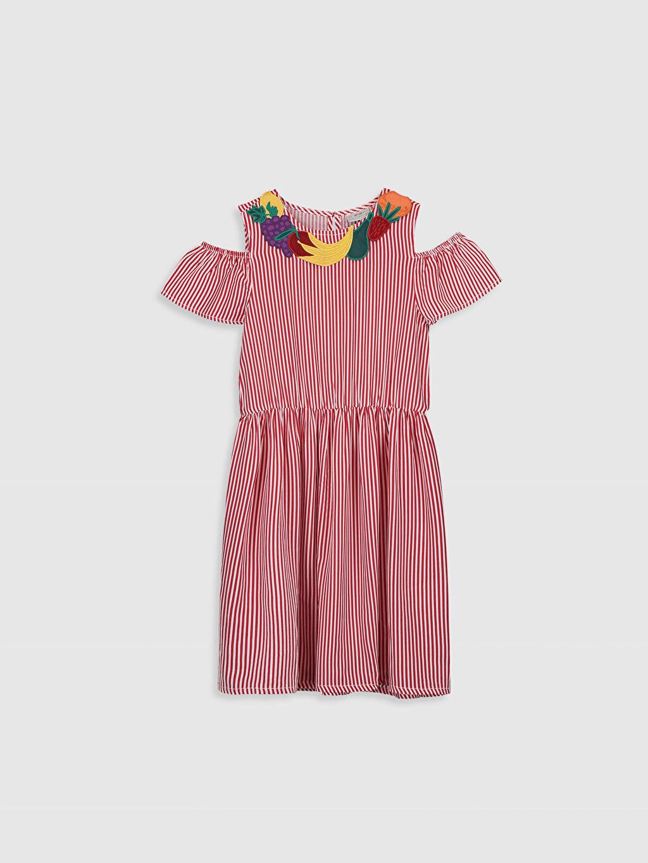 Kırmızı Kız Çocuk Çizgili Viskon Elbise 0SH680Z4 LC Waikiki