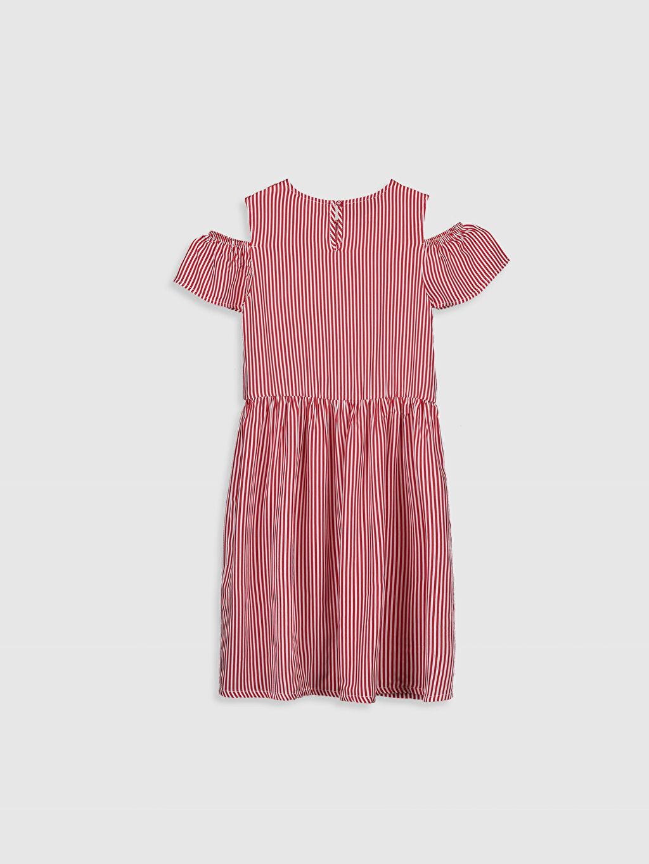 %100 Viskoz Çizgili Kız Çocuk Çizgili Viskon Elbise