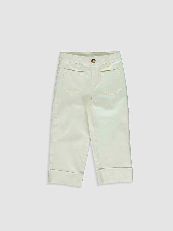 Ekru Kız Çocuk Gabardin Pantolon 0SH686Z4 LC Waikiki