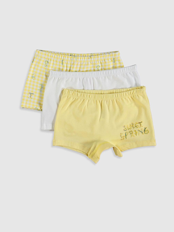 Sarı Kız Çocuk Pamuklu Boxer 3'lü 0SH747Z4 LC Waikiki