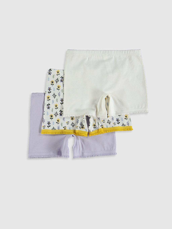 %96 Pamuk %4 Elastan Standart İç Giyim Alt Kız Çocuk Pamuklu Boxer 3'lü