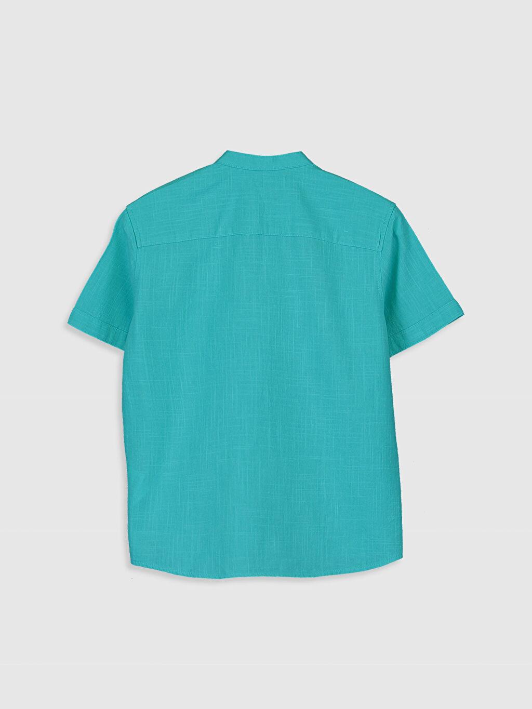 %100 Pamuk Standart Kısa Kol Düz Erkek Çocuk Poplin Gömlek