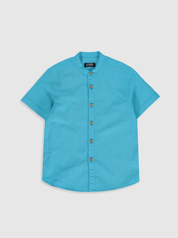 Turkuaz Erkek Çocuk Kısa Kollu Poplin Gömlek 0SH890Z4 LC Waikiki
