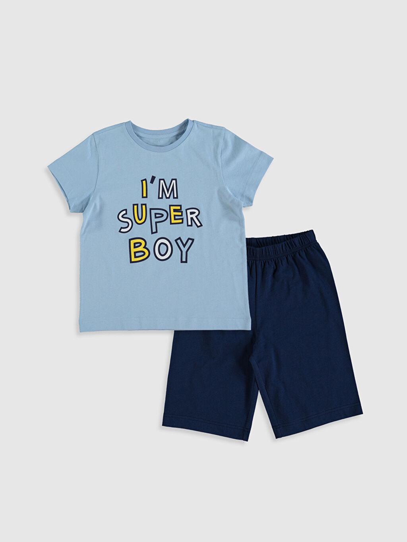 Mavi Erkek Çocuk Baskılı Pamuklu Pijama Takımı 0SH986Z4 LC Waikiki