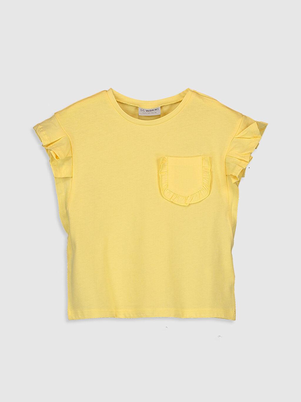 Sarı Kız Çocuk Fırfırlı Pamuklu Tişört 0SH991Z4 LC Waikiki