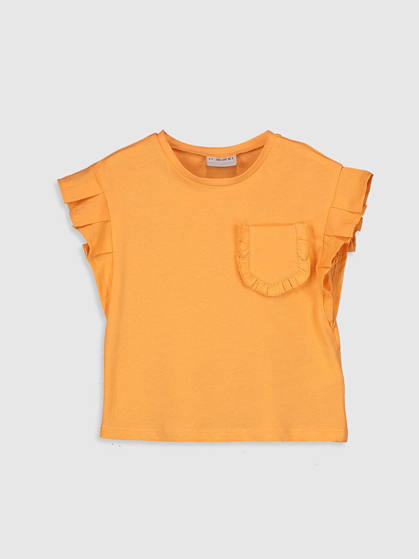 Turuncu Kız Çocuk Fırfırlı Pamuklu Tişört 0SH991Z4 LC Waikiki