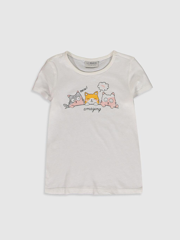 Ekru Kız Çocuk Baskılı Pamuklu Tişört 0SI002Z4 LC Waikiki