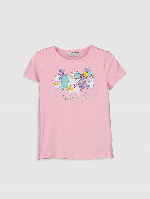 Pembe Kız Çocuk Baskılı Pamuklu Tişört 0SI031Z4 LC Waikiki