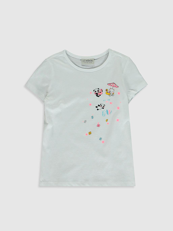 Beyaz Kız Çocuk Baskılı Pamuklu Tişört 0SI039Z4 LC Waikiki