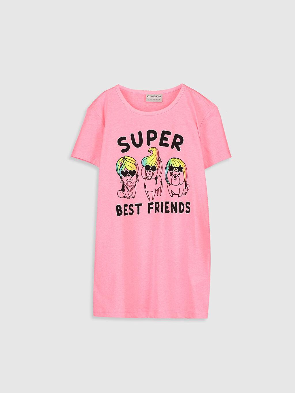 Pembe Kız Çocuk Baskılı Pamuklu Tişört 0SI048Z4 LC Waikiki