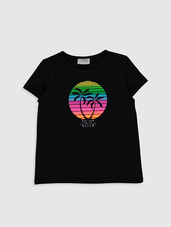 Siyah Kız Çocuk Baskılı Pamuklu Tişört 0SI069Z4 LC Waikiki